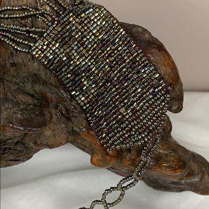 Vintage woven glass seed bead belt